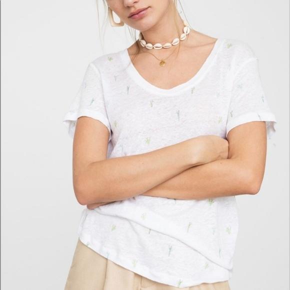 Rails Tops - Rails | watercolor Luna cactus linen tee shirt NWT